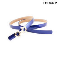 Newest Belt women ladies genuine leather fashion all-match fashion strap patent leather candy color blue