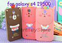 Korea ROMANE Cute Cartoon 3D Hello Geeks Silicon Soft Case for Samsung Galaxy S4 i9500,Free Shipping