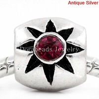Free Shipping! European Charm Beads Column Antique Silver Flower Carved Fuchsia Rhinestone 12x10mm,Hole:5.3mm,20PCs (K00404)