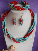Fashion Ladies' Party Anniversary turquoise and Coral Jewelry set