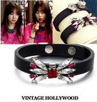 High quality ! korean gem yeh bow leather bracelet