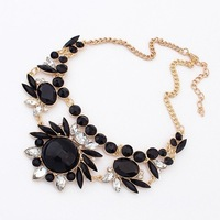 2013 New Design Lady Charms Acrylic Black Flower Bib Statement Necklace Collar Hot! Free Shipping #99505