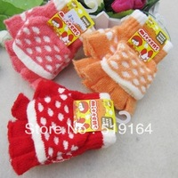 Free Shipping! 2013 Hot selling Baby Dots Gloves Semi Fingers Flip Thermal Solid Gloves