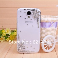 Bling Handmade DIY Glitter 3D Flower Diamond Rhinestone Case Back for Samsung I9500 Galaxy S IV