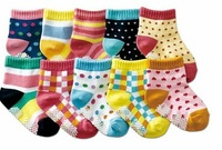 free  shipping  Pure cotton children socks/temperament children socks/baby non-slip floor socks long 12-15 cm Mixed 10PCS/LOT