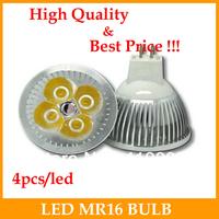 4pcs DC 12V LED Spot light 4W   MR16 led lamp Warm White bulb Lamp Spotlight Free Shipping