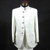 Thepassionate male suit costume chinese tunic suit stand collar of white embroidered wedding dress 3018 costumes