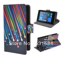 Meteor Shower Folio Leather Case for Nokia Lumia 520, w/ Card Slots and Stand+1pcs film.freeshipping