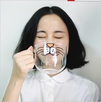 Yizi circle handmade glass cup cat high temperature resistant 4 transparent water cup Zakka Fashion Multifunction