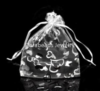"Free Shipping! 50PCs White Love Heart Organza Wedding Gift Bags & Pouches 16x13cm(6-1/4""x5-1/8"" (B18665)"