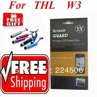 2pcs/lot Retail Packaging Clear LCD Screen Protector Cover Guard Film For THL W3 Free Mini Stylus Pen Free  Shiping