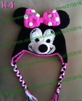 Free shipping,20pcs New Style! Kids Minnie Bow crochet Beanie Hat, Baby Animal Hat Winter Gift,Children Handmade Beanie Hats