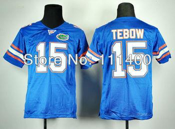 Kids cheap NCAA football Florida Gators Tim Tebow 15 Royal Blue College Football jerseys Embroidery logos size M-XXL,Can mix ord