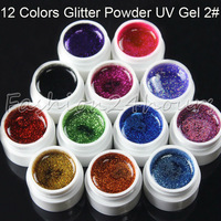 New 12 Different Dark Colors Nail Art Glitter Powder UV Gel Builder 2# For Acrylic Tips Art