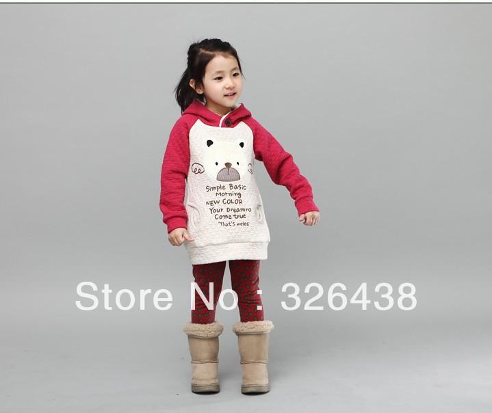 Free shipping 2013 autumn winter Children's coat girl's Long sleeve thicken Hooded Fleece girls coat(China (Mainland))