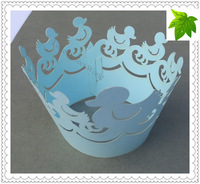 Free Shipping! 30pcs/lot Light Blue Cute Duck Design LaceCupcake Wrappers,Cake decorating tools,Cupcake laser cut