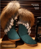 2013 new autumn and winter women Fox fur snow boots female warm cotton-padded shoes flat high boots