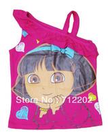 Free Shipping Dora 2013 Children's Clothing Dora Punching Bag Shirt Female Child Vest Brief t-Shirt Baby Summer Cartoon Rose