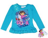 Free Shipping AutumnLlarge Children's Dora Clothing Long-Sleeve T-Shirt Female Child Dress Clothes T-Shirt Dora Blue Ruffle Blue
