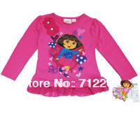 Free Shipping Autumn Large Children's Dora Clothing Long-Sleeve T-Shirt Female Child Dress Clothes T-Shirt Ruffle Rose Dora