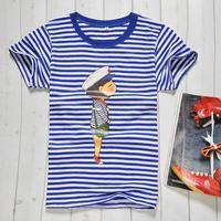 Summer navy style shirt vintage shirt navy short-sleeve o-neck short-sleeve t-shirt male Women