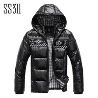 Ss311 male down coat winter with a hood outerwear men's clothing design short down coat