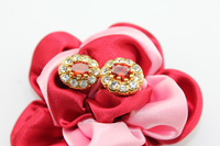 Free Shipping, Fashion 18k Golden Plated Earring With Sparkling Artificial Diamond