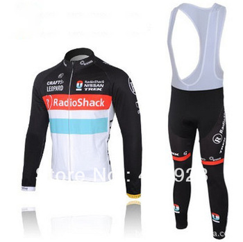 Hot sale! RadioShack  cycling team long sleeves cycling jerseys straps suit,bicycle clothing,free shipping