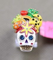 Min Order $18(Can Mix Item)Fashion hot selling new arrival distinctive rhinestone fruit flower skull rings