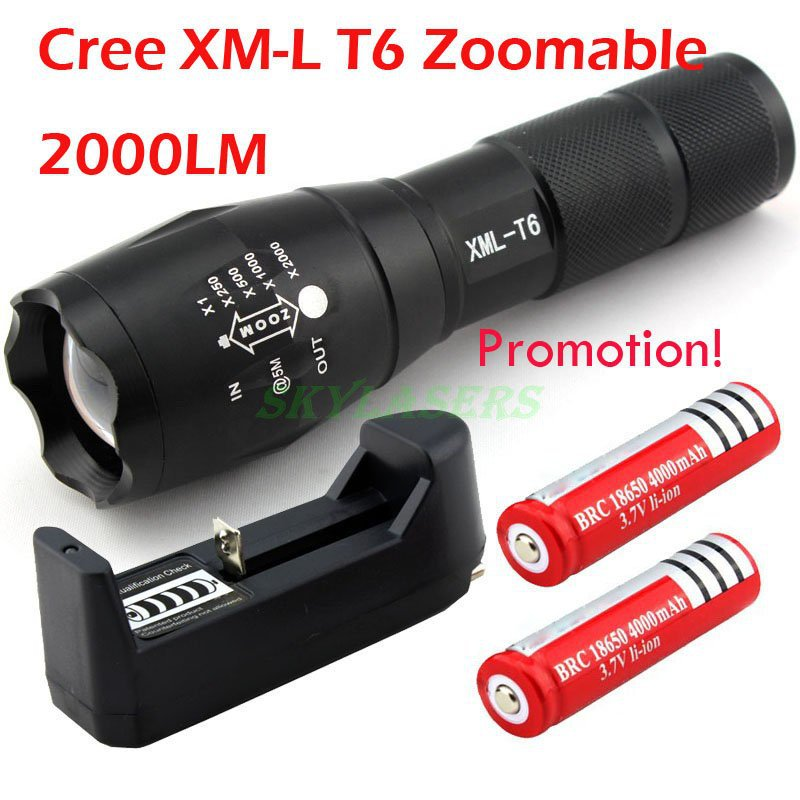 Promotion E17 CREE XM-L T6 2000 LM High Power Torch Zoomable LED Flashlight Torch light (3xAAA or 1x18650) + 2*Battery + Charger(China (Mainland))