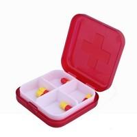 Square Pill Box Red Pill Case with Cross Medicine Organizer Portable Pill Storage Box