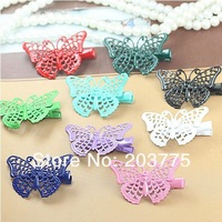 chengpin Free shipping 100pcs Colorful Spray Painting Hair Clips with Butterfly Blank - 9 colors available,size:25*40mm