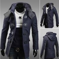 New Winter New Man's Fashion Jacket Hooded Single-breasted Belt Buckle Long Men Jacket Free Shipping 14F15