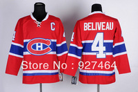 cheap ice hockey jersey Montreal Canadiens #4 Jean Beliveau ice hockey Jersey on sale, top quality, accept free shipping
