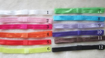 Free Shipping 100pcs/ lot 12 Colors Elastic FOE Baby Headbands DIY children Hair Accessories Satin Stretchy Hair band Headwear