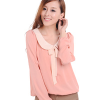Women's 2013 autumn long-sleeve chiffon shirt top loose plus size mm chiffon top