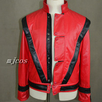 High quality Thanking of michael jackson thriller jacket good quality mj Thriller mtv red leather jacket,free shipping
