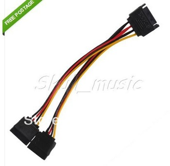 10pcs  15 Pin SATA Male to 2 SATA Female Splitter Power Cable Extension Adapter//freeshipping
