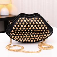 Wholesale  new Korean women rivet mouth pu Shoulder Bag Messenger Bag candy red/blue/beige/pink/black colors choose