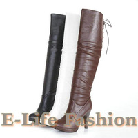 Free shipping 2012 New Sxey high heels boots Knee high Strap Platform Casual Fashion boots 3 Colors FY-98-1