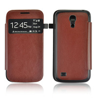 new window Leather Case for Samsung galaxy s4 mini i9190+Retail box 10pcs/lot free shipping