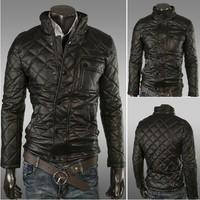 New Arrival 2013 New Winter Men's Fashion Jacket Stand Collar diamond design Zipper outerwear men's jacket color black  14JK27