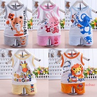New 2013 Children Vest 2 Pieces Suits Cotton Sleeveless T-shirt + Shorts Set Baby Boys and Girls 0-3 years