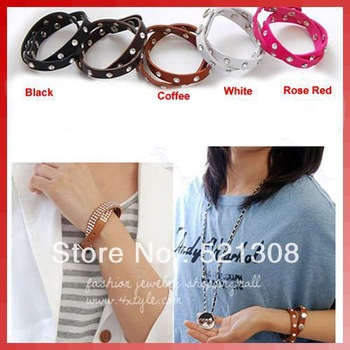 Free Shipping 5pcs/lot New Fashion Unisex Artificial Leather Rhinestone Crystal Bracelet Wristband