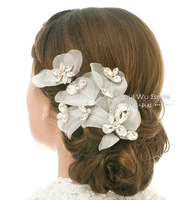 Water bride hair accessory charming hair accessory married big bling rhinestone lace wedding accessories hair maker style