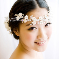 Handmade bride garland hair accessory married polymer clay flower pearl wedding dress hair accessory style accessories