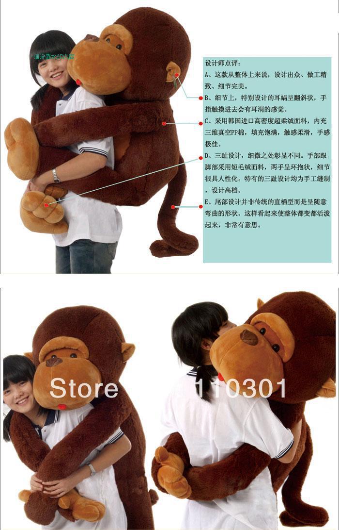 giant huge stuffed Animal lovely long arm monkey soft plush toy gift 110cm(China (Mainland))