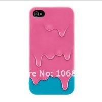 Polymer 3D Melt Carbonate Melt ice-Cream Hard Case Cover for iPhone 4 4G 4GS 4S Free Shipping Rose with light blue
