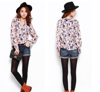 Free shipping  autum women's t- shirt plaid women's chiffon shirt long-sleeve color block decoration chiffon