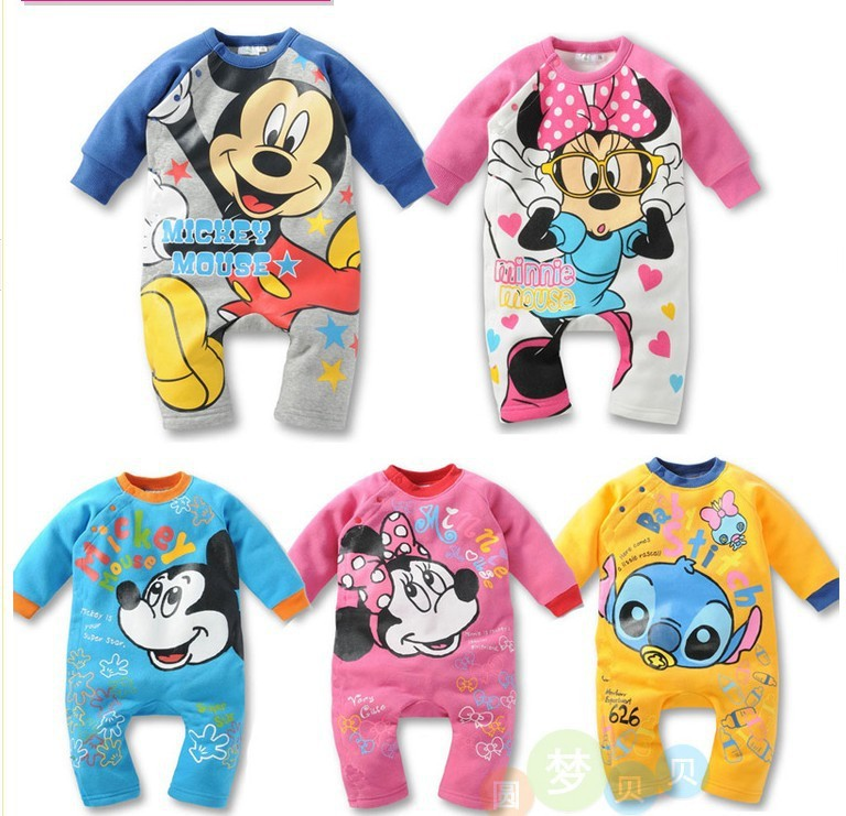 New 2013 spring autumn baby wear boy girl rompers ,newborn infant Mickey Minnie romper, baby jumpsuit, unis